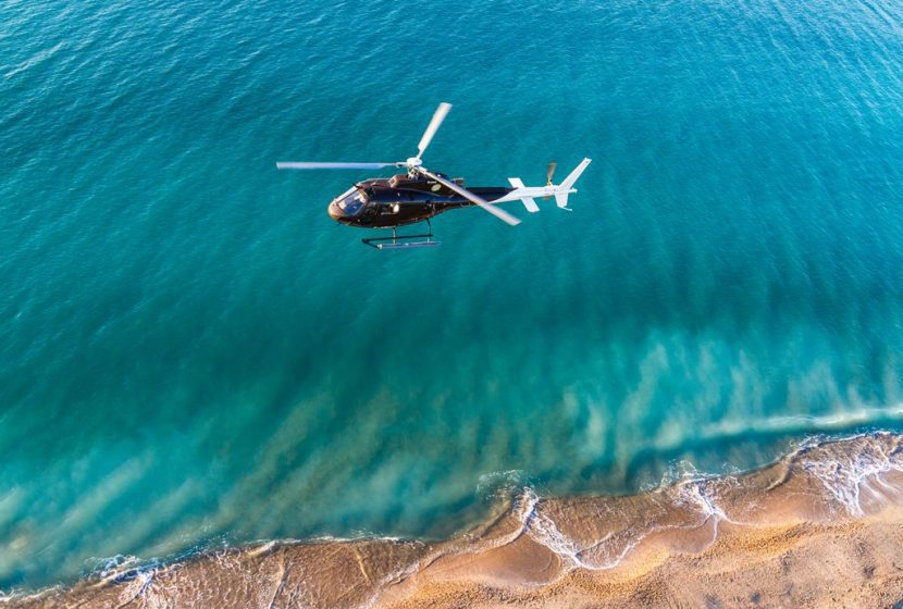 Helicopter flight over the Camargue and saltmarshes